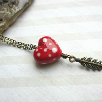Red Spotty Heart Necklace