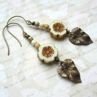 White Flower and Leaf Earrings