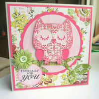 Owl Card Pink and Green