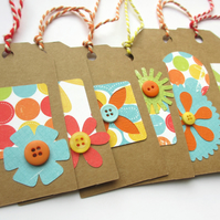 Gift Tags set of six Bright