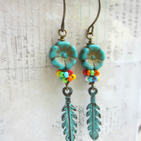 Turquoise Bloom and Feather earrings