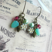 Mint and Fuchsia Cluster Earrings
