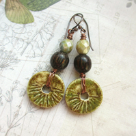 Rustic Olive Earrings
