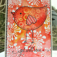 Get Well Soon Card - Bird Red