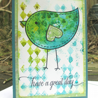 Have a Great Day Card - Bird Green and Blue