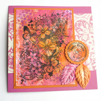 Birthday Card Orange and Pink Flowers