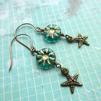 Teal Starfish Earrings
