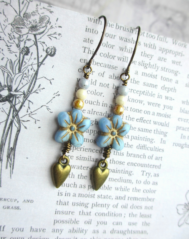 Blue Flower and Heart Earrings