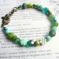 Teal, Mint and Green Glass Bead Bracelet