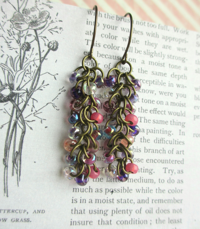 Cascade Earrings Pink and Purple