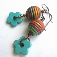 Multicoloured String Earrings with Turquoise Flowers