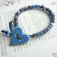 Blue Ceramic Heart Bracelet