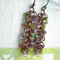 Cascade Earrings Green and Purple