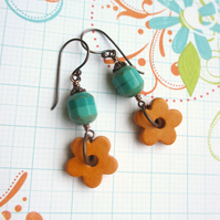 Orange Ceramic Flower earrings