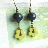 Blue and Green Ceramic Flower Earrings