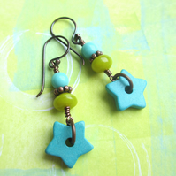 Turquoise Ceramic Star Earrings