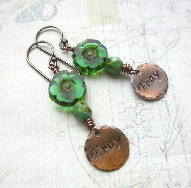 Green Flower Pray Earrings