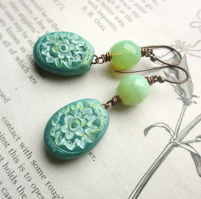 Green Patterned Drop Earrings