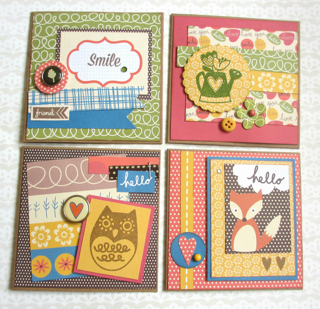 SALE Mini Cards - set of 4 - 4.00