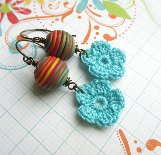 SALE Turquoise Flower Earrings 8.00
