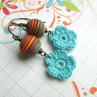 Turquoise Flower Earrings SALE 8.00