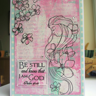 Be Still Scripture Card pink