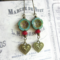 Teal Flower and Heart Earrings