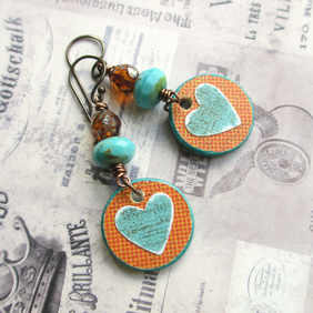 Turquoise Heart Charm Earrings