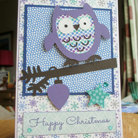 Christmas Card Purple Owl
