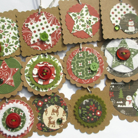 Christmas Tags - set of 12 dark red