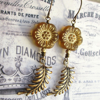 Flower and Fern Earrings  - Butterscotch and Gold