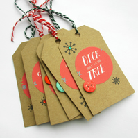 Christmas Tags set of six Words SALE 2.50