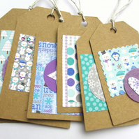 "Christmas Tags set of six ""Snowmen"""