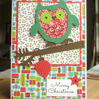 Christmas Card Green Owl