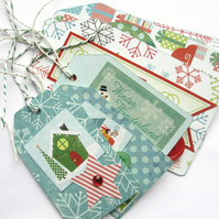 "Christmas Tags set of six ""Be Merry"""