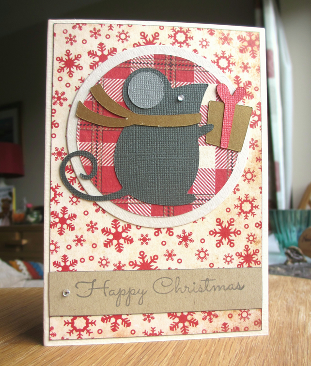 Christmas Card - Mouse on Plaid SALE 2.00
