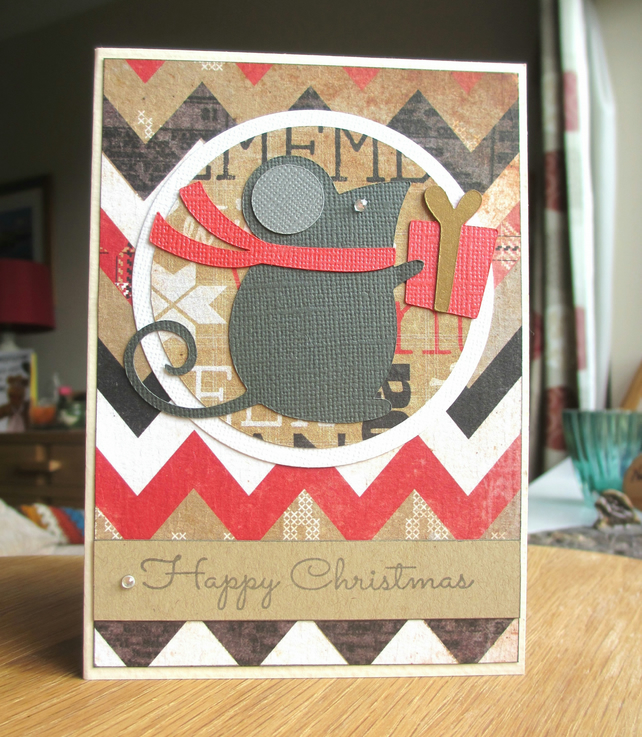 Christmas Card - Mouse on Zigzag Background SALE 2.00