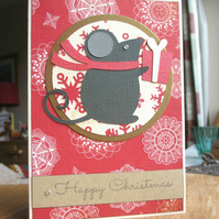 Christmas Card  - Mouse on Red Background SALE 2.00