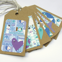 Christmas Tags set of 6 Frosty