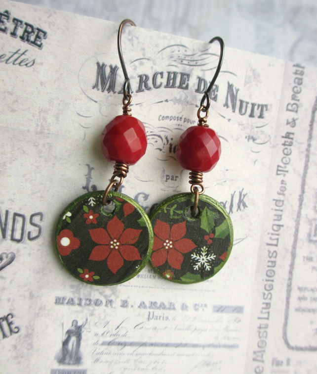 Christmas Earrings Dark Red Festive SALE 7.00