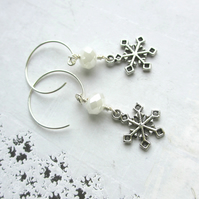 Snowflake Earrings White Lustre