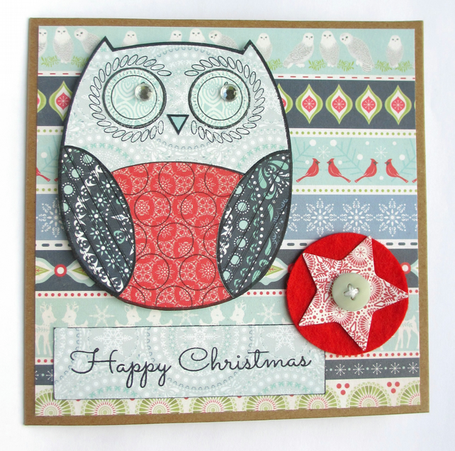 Festive Owl Christmas Card Red and Blue