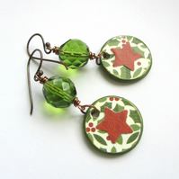 Festive Star Earrings Red and Green