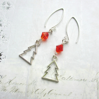 Christmas Tree Earrings Fire Red