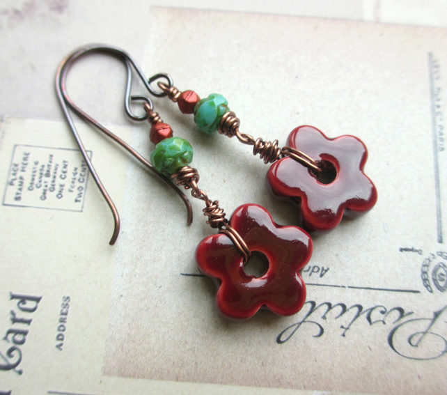 Wine Red Flower Earrings