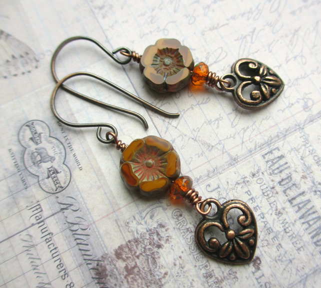 Copper Heart and Flower Earrings