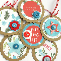 Christmas Tags set of 6 blue and red