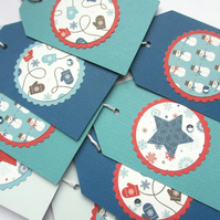 Christmas Tags set of 8 Winter Blue