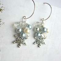 Snowflake Cluster Earrings Icy Blue