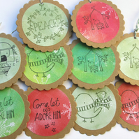 Christmas Tags set of 10 Traditional Christmas SALE 3.00